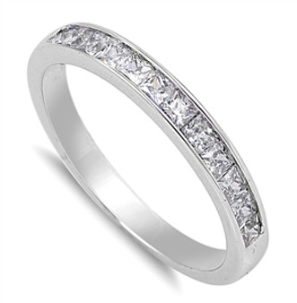 3 mm 925 Genuine Sterling Silver Ring with Cubic Zirconia