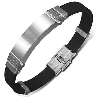 Personalized Stainless Steel With Rubber ID Bracelet