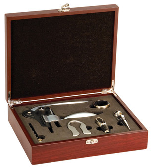 Personlized Rosewood Finish 5-Piece Wine Tool Set