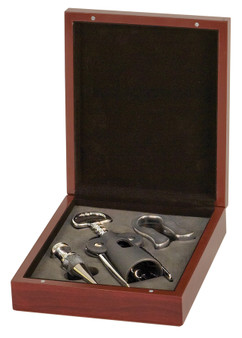 Rosewood Finish 3-Piece Wine Tool Set