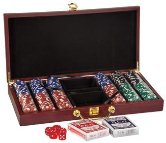 Personalized Rosewood Finish 300 Chip Poker Set