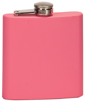 6 oz Matte Pink Laserable Stainless Steel Flask