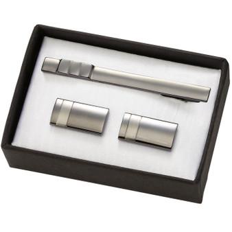 2-tone Gunmetal Brass cufflinks & Tie Bar Set