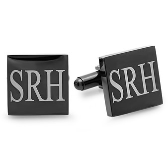Shiny Black Square Stainless Steel Cufflinks - Free Engraving
