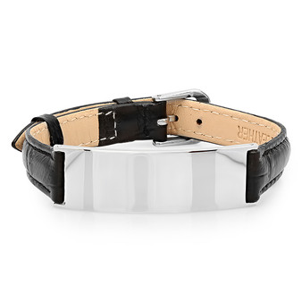 Quality Stainless Steel with Leather ID Bracelet