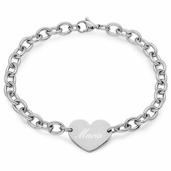 Quality Stainless Steel Heart Charm Bracelet - Free Engraving