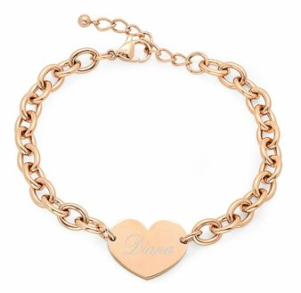 Quality Stainless Steel Rose Gold Color Heart Charm Bracelet