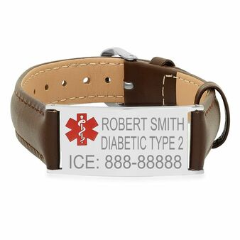 Medical ID Bracelet Stainless Steel with Brown Leather
