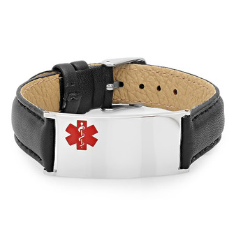 Medical ID Bracelet Stainless Steel with Black Leather
