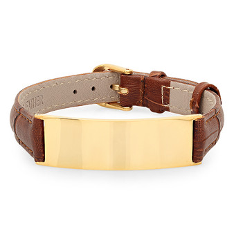 Personalized Stainless Steel Bracelet with Brown Leather