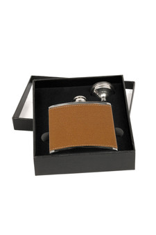 Personalized Tan Hide-Stitch Flask with Funnel and Presentation Box