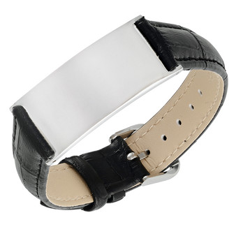 Stainless Steel with Black Leather ID Bracelet - Free Engraving