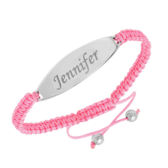 Personalized Pink Macrame Bracelet & Stainless Tag Adjustable