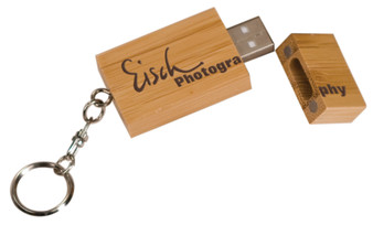 4GB Bamboo USB Flash Drive with Keychain