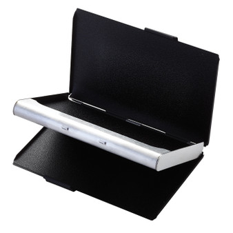 Matte Black and Silver Stainless steel Double Sided Card Case