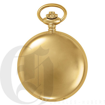 Gold-Plated Polished Finish Double Hunter Case Mechanical Pocket Watch