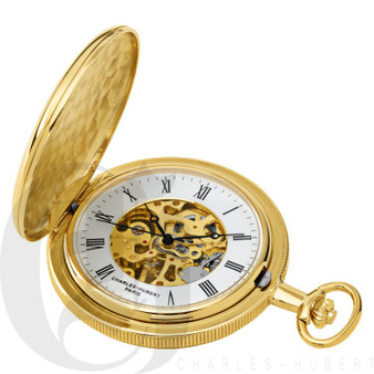 Gold-Plated Polished Finish Hunter Case Mechanical Pocket Watch by Charles Hubert