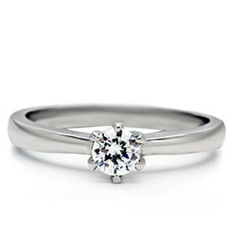 Personalized Promise Ring Stainless Steel Round Cut with Cubic Zirconia