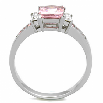 Pink Princess Cut CZ Stainless Steel Ring - Free Engraving
