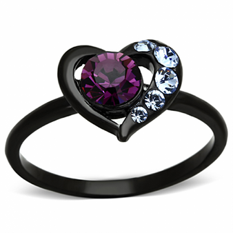 Personalized Stainless Steel Black IP Amethyst Heart Ring