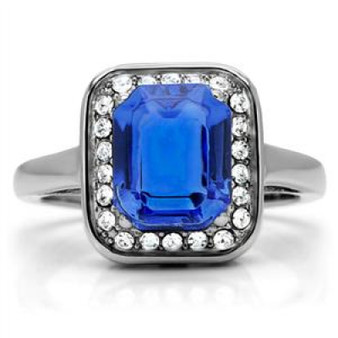 Personalized Stainless Steel with Blue Sapphire CZ Ring