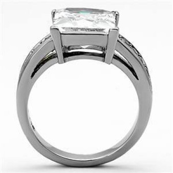 Princess Cut CZ Stainless Steel Ring - Free Engraving