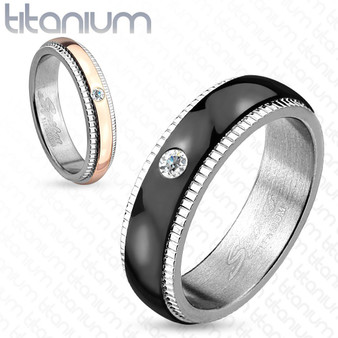 Personalized His & Hers CZ Titanium Couple Ring