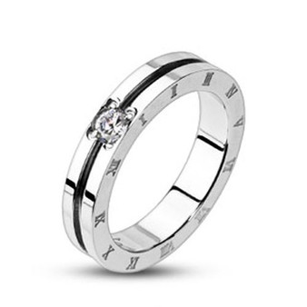 Grooved Center With Clear CZ Engraved Roman Numeral Band Ring
