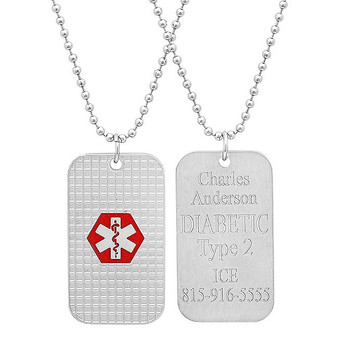 "Stainless Steel Quality Medical ID Dog tag with 24"" bead chain"