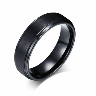 7mm Tungsten Carbide Brushed Center Stepped Edge Ring