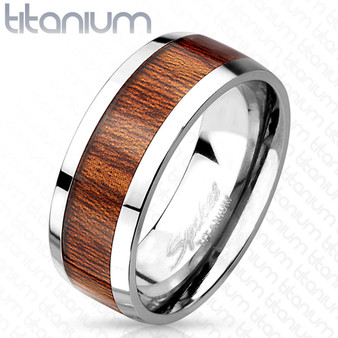 Personalized Wood Inlay Titanium Ring
