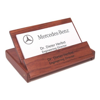 Personalized Rosewood Folding Business Card Holder