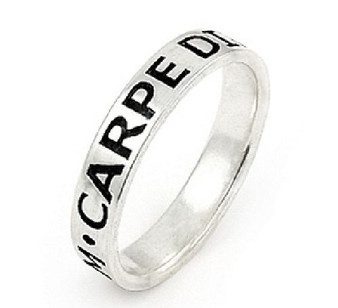 Personalized 4mm Sterling Silver Carpe Diem Band Ring