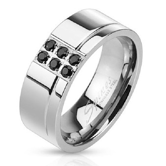 Personalized Stainless Steel Black CZs Band Ring