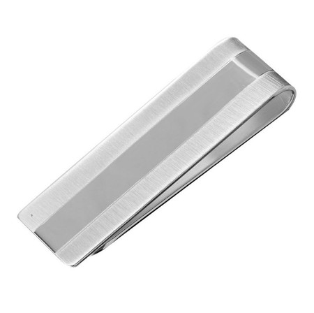 Genuine Solid Sterling Silver Dual Tone Money Clip -Free Engraving