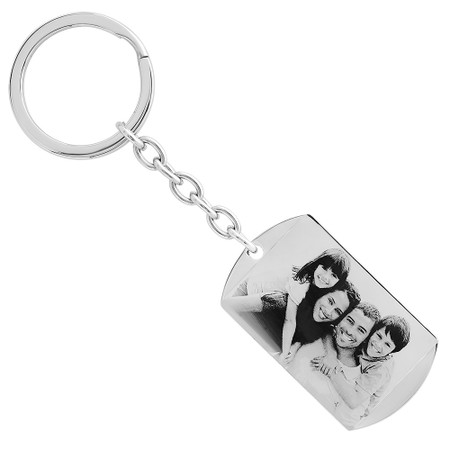 Personalized Stainless Steel Photo Dog Tag Keychain