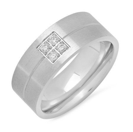 8mm Personalized Stainless Steel Ring with Clear CZ