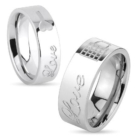 11bef4f7df78b Lock & Key Love Engraved Stainless Steel Couple Rings