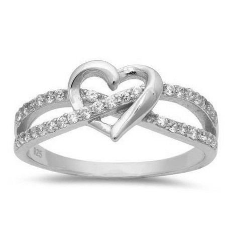 c3ec3f77e25f6 Personalized Sterling Silver Infinity Twist With Heart Ring