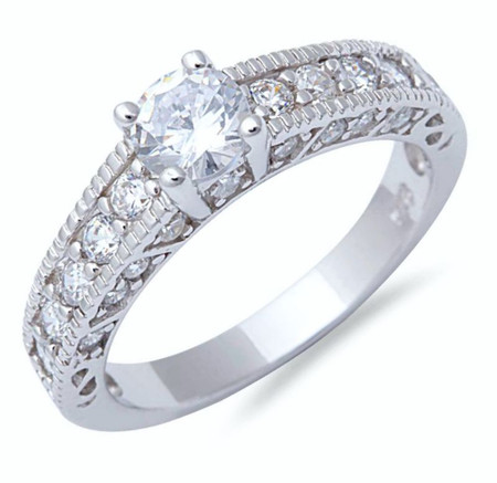 Sterling Silver with Round and Micro Pave CZ Engagement Ring