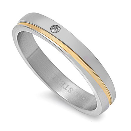 Personalized Stainless Steel 2-tone With Clear CZ Band Ring