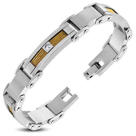 Stainless Steel 2-tone Celtic Cable Wire Panther Link Bracelet
