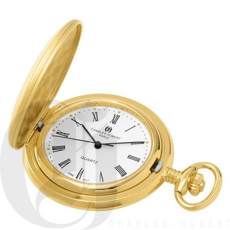 Gold-Plated Brushed Finish Quartz Charles Hubert Pocket Watch