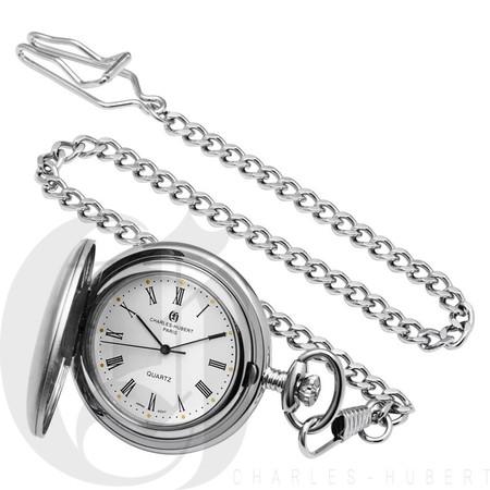 Brushed Finish Hunter Case Quartz Pocket Watch by Charles Hubert