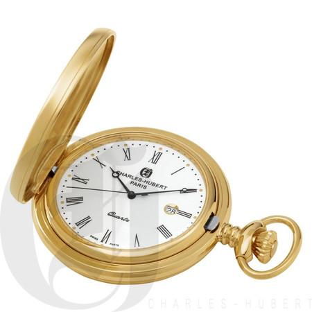 Gold-Plated Hunter Case Quartz Pocket Watch by Charles Hubert