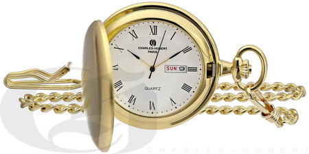 Charles-Hubert Paris Gold-Plated Satin Finish Hunter Case Quartz Pocket Watch