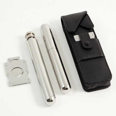 Stainless Steel Cigar Cutter, Flask and Cigar Holder with Leather Case
