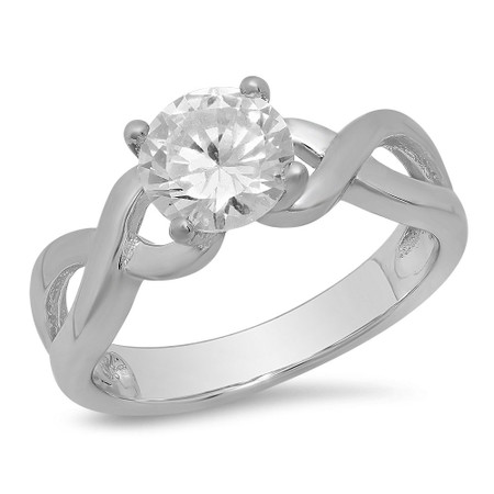 Sterling Silver Infinity Design Birthstone Family Ring