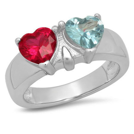 Sterling Silver Two Hearts Birthstone Family Ring