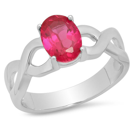 Sterling Silver Infinity Design Oval Birthstone Family Ring